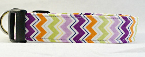Zig Zag Purple Grape Lime Green and Orange Chevron Stripe Dog Collar Retro
