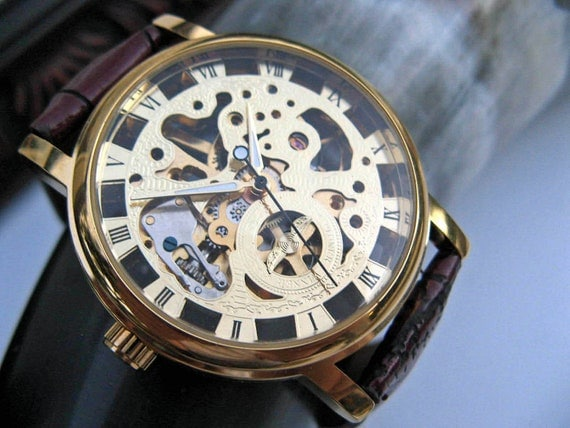 Goldtone Mechanical Wrist Watch with Brown Leather Wristband