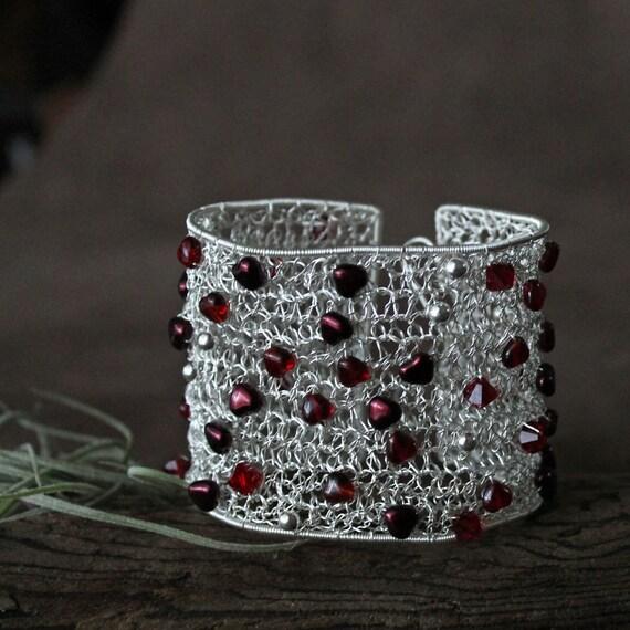 "Beaded Silver Wire Crochet Cuff: ""Web of Hearts"""