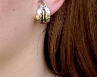 Sale ///Mid Century  Modern Sterling Silver Leaf Earrings