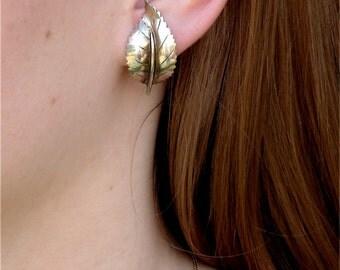 Mid Century  Modern Sterling Silver Leaf Earrings