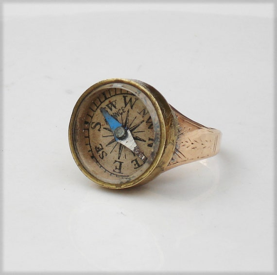 Altered Victorian 10k Gold Ring with Compass