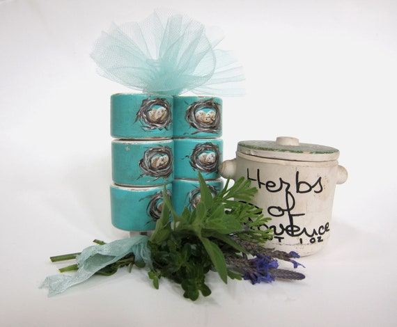 French Country Farmhouse Napkin Rings  Nest and Eggs Set of 6 Cottage Chic Aqua Blue