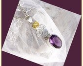 Beautiful Lemon Topaz With a Large Faceted Amethyst - Sterling Silver Necklace  DC 8308