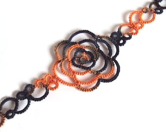 Halloween Black , Orange Bookmark in Tatting , Limited Edition 1 of 3 - Rosa