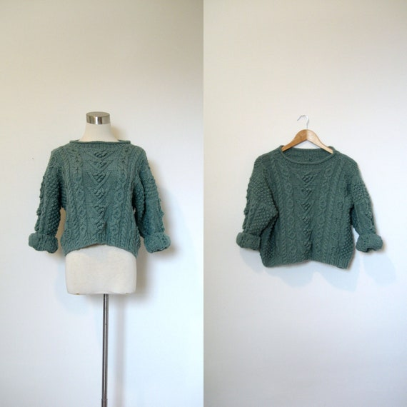 Cropped Sweater / 1980s Teal Wool Fishermans Sweater / Popcorn Knit (small medium)