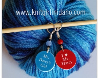Mr. Darcy's Girl & I heart Mr. Darcy Stitch Markers (Set of 2)