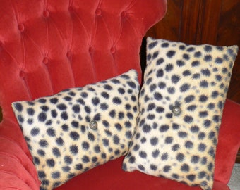 Pair of Decorative Pillows Made from Vintage Leopard Cheetah Print Fuzzy Fabric
