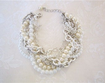 Pearl Rhinestone Silver Bracelet, Bridal Statement Wedding Jewelry Twisted Statement - Pearly Q