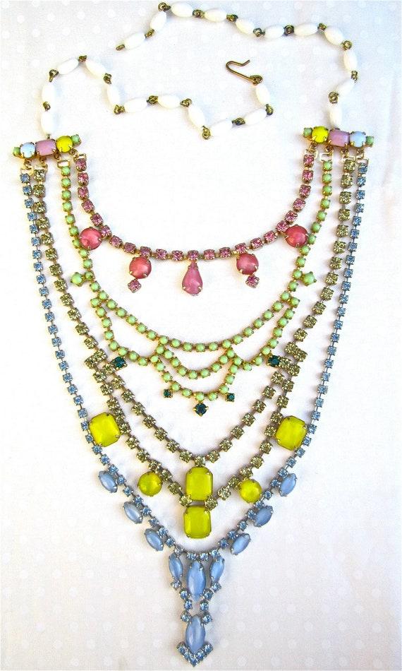 Statement Necklace Colorful Rhinestone Bib Necklace Bridal, Long Multi Strand Vintage Wedding Pink, Green, Yellow, Blue - Nancy Jean
