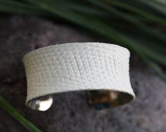 Lizard Leather Cuff Bracelet - White 1 inch Concave Cuff