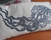 aromatherapy lavender and chamomile linen hemp organic cotton eye pillow (blue jellyfish on ivory)