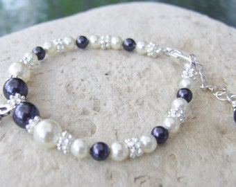 Beautiful Alternating Color Pearl Bracelet with Sterling Initial Charm