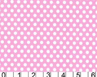 Michael Miller Fabric Polka Dot KISS 1/4 quarter inch White Dots on Light Pink