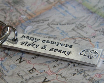 personalized hand stamped key chain with fun camper