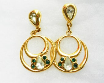 Vintage Earrings Italy 1960 - Bright green emerald Rhinestones and gold finish - Dangle Drop Earrings -- Art.53/2--