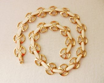 Exquisite 1950s enammelled italian necklace - extremely elegant jewelry for the bride -enamel and gold -art.357/2-