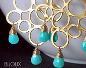 Turquoise Chandelier Gold Earrings - Sleeping Beauty Turquoise......LAST PAIR