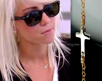 Sideways Cross Necklace  - Celebrity Necklace - Gold and Silver - Mixed Metals
