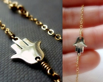 Hamsa Necklace - Mixed Metals -14K Goldfilled and 925 Sterling Silver