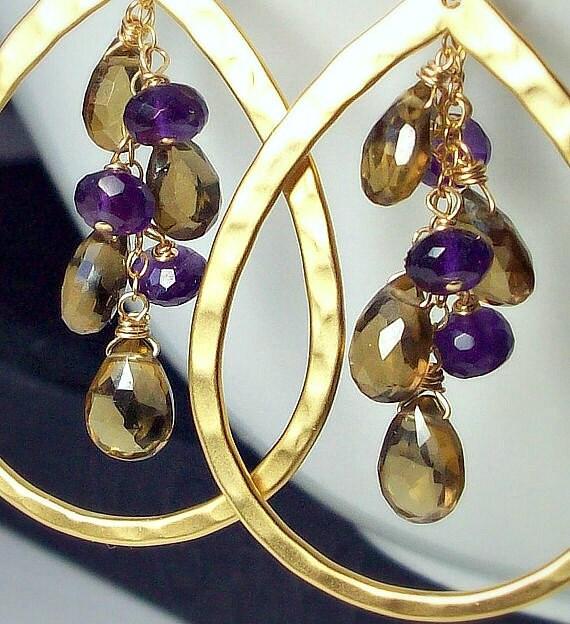 Amethyst, Whiskey Quartz Cluster Hoop Gold Earrings