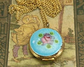 VINTAGE Enamel Locket . Pink Flower Pendant Necklace