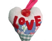 SUNHEART Antique Quilt LOVE HEART ornament wall hanging holidays Christmas gift