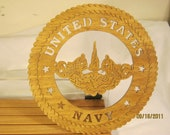 US NAVY SUBMARINE Service Scroll Saw Plaque