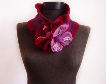 felted purple wine autumn collar scarf, eco friendly, felt winter fashion