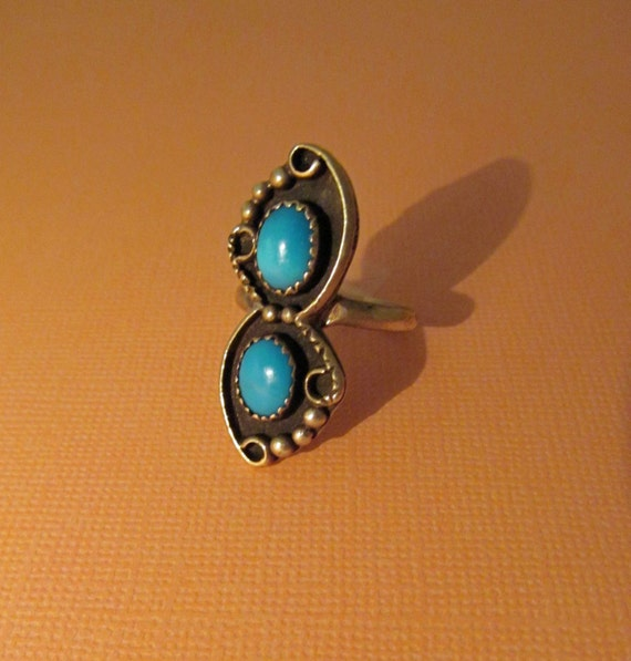 Silver Turquoise Ring Southwestern