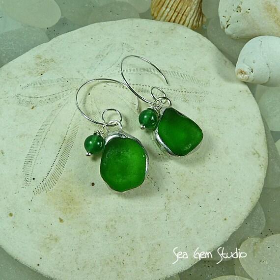 Green sea glass earrings, beach glass earrings, beach wedding, sea glass jewelry