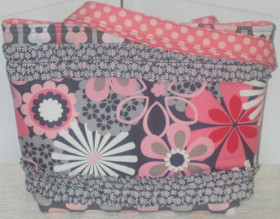 Daisy Flowers Large Ruffled Tote Blooms Petal Pink and Gray Groovy Guitars  Polka dot Purse Ready To Ship