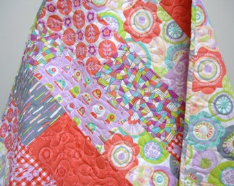 Coral Baby Bedding-Girl Quilt-Crib -Grey-Gray-Orchid-La Dee Da-Modern Baby Quilt-Lap Quilt-Etsy Baby
