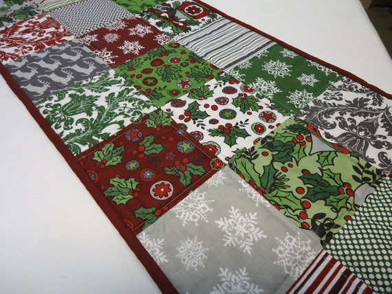 Christmas Table Runner  Jolly Holiday Red Green White and Gray