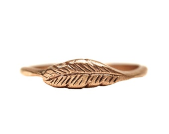 14K Rose Gold Woodland Feather Ring Delicate Cute Boho Organic Bird Pink Handmade - Feather's Rose