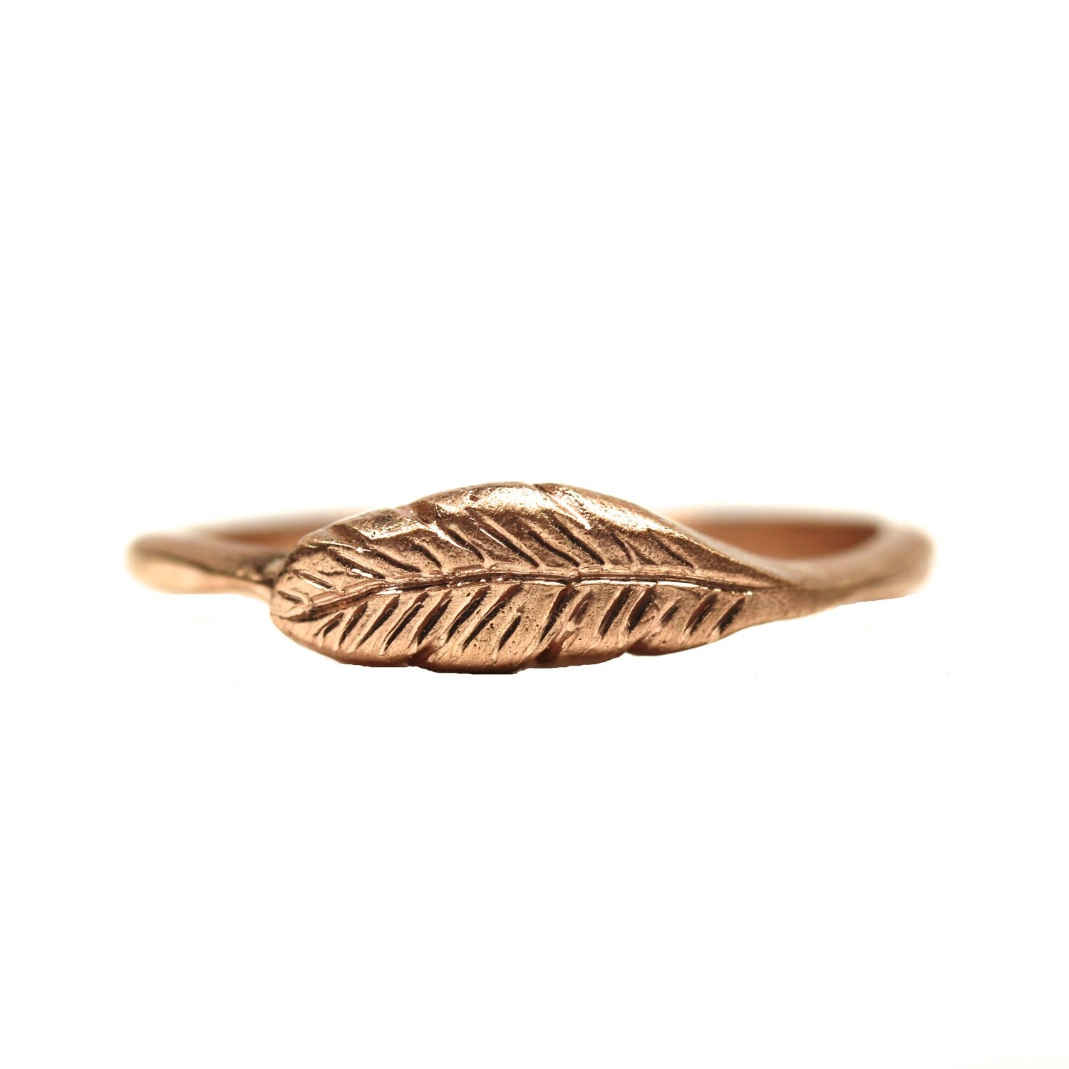 14k gold woodland feather ring delicate boho organic