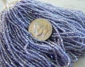 Vintage Czech glass bead hank lavender purple   2 cuts mini hank