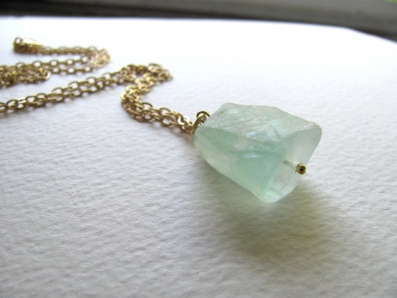 Raw flourite pendant necklace, light blue aquamarine mineral stone on long 14k gold plate chain