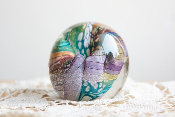 Abstract Glass Paperweight, Pink Purple and Teal Green, Like A Coral Reef