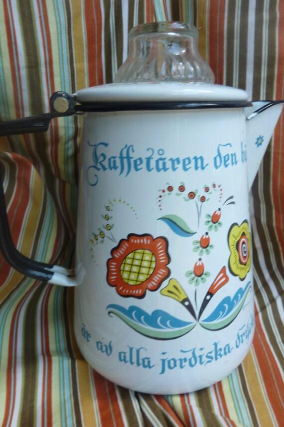 "Vintage Swedish Enamel Motto BERGGREN ROSEMALING Coffee Pot  ""On Sale"""