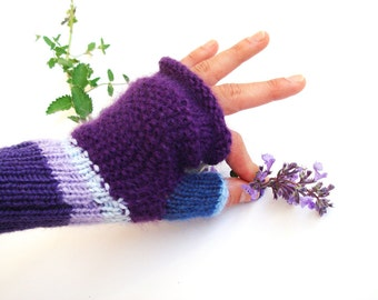 Purple fingerless gloves, winter accessory, women, gift