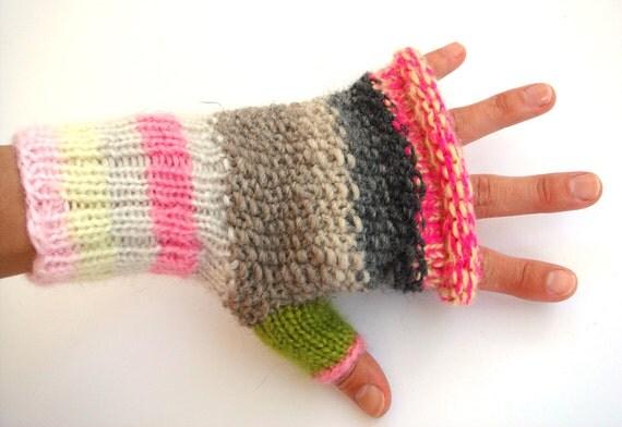Funky fingerless gloves, pink women gloves, cute mittens, gift for her