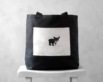 French Bulldog Vintage Photograph - Black or Natural Canvas Bag - Carryall Tote - School Bag