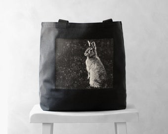 Canvas Bag - Woodland Bunny - Mademoiselle Lapina - Tote Bag - Easter Basket - Carryall Tote - Black or Natural