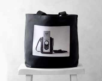 The Argoflex - Vintage Camera Photograph on a Black or Natural Canvas Bag - School Bag - Carryall Tote