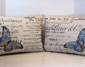 Pillows Pair of French Script Paris Document with Opposite Blue Butterflies 12 by 16 Inches, Choose Your Color Butterflies