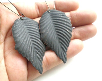 Black Leaf Hand Painted Earrings