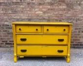 Vintage Farmhouse Dresser In Sunshine Yellow