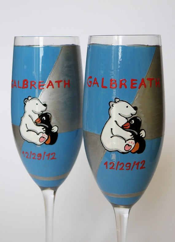 Hand painted Wedding Toasting Flutes Set of 2 Personalized Champagne glasses Wedding theme Penguin and White Bear