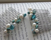 Turquoise, Pearl and Swarovski Crystal Hair Combs